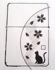 満月と猫×霞桜Zippo SILVER925