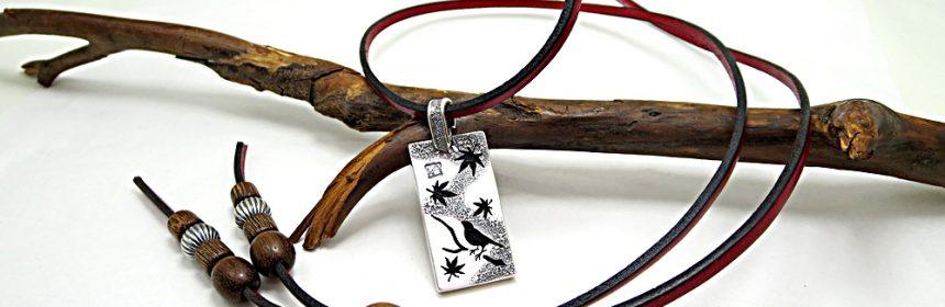 文鳥×紅葉 シルバーネックレス