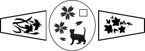 K18印台リング 猫×桜×皐月×菖蒲のデザイン